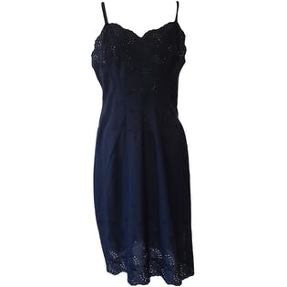 Navy Blue Eyelet Detail Dress