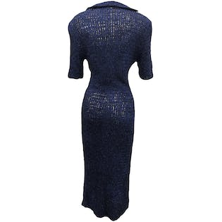 Navy Blue Ribbon Knit Maxi Dress