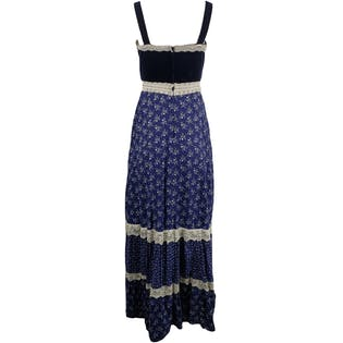 Navy Floral Dress with Attached Apronby Gunne Sax