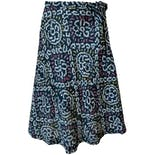 Navy Pattern Wrap Skirt with Side Tie