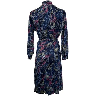Navy Patterned Dress with Pleated Bottom and Long Sleeves