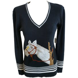 Navy V-Neck Long Sleeve Sweater with Horse Embroidery