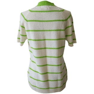 Neon Green Striped Short Sleeve Sweater by Hand Full Fashioned