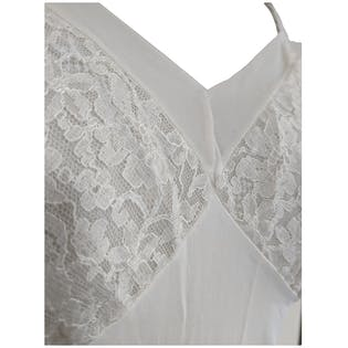 White Slip with Sheer Lace Bust and Trim