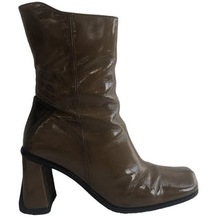Olive Patent Leather Boots by Zita Maria