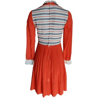 Orange Dress with White and Navy Top Halfby Young Moments