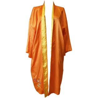 Orange Kimono with Floral Embroidery