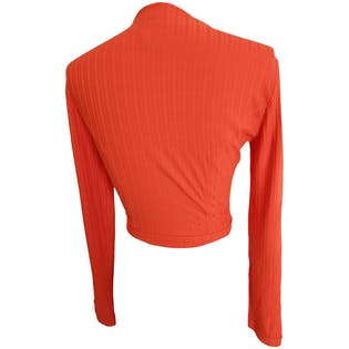 Orange Long Sleeve Ribbed Top