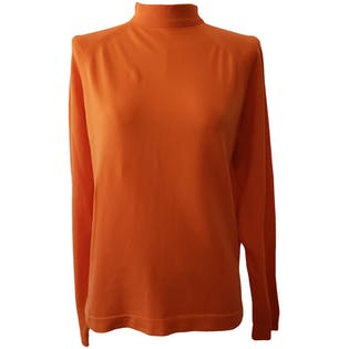 Orange Mock Neck Long Sleeve Shirt