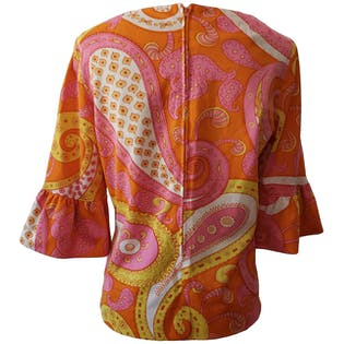 Orange Pink and Yellow Paisley Blouse with Ruffled Sleeves by Domani Knits