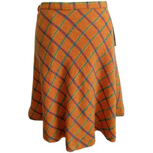 Orange Plaid Skater Skirt by Wet T Sister