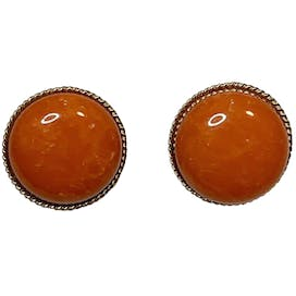 Orange Circle Clip On Earrings by Marvella