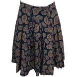 Pleated Navy Paisley Print Skirt