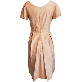Peach Brocade Dress with Box Pleated Skirt