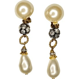 Pearl and Rhinestone Dangle Earrings by Les Bernard
