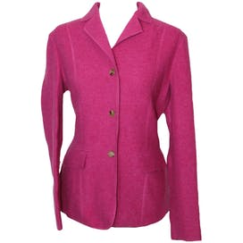 Pink Felted Wool Button Front Blazer by Lands End
