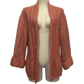 Pink Chunky Knit and Lurex Open Cardigan