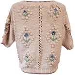 another view of 90's Pink Knit Sweater with Floral Embroidery by Banana Republic