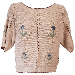 90's Pink Knit Sweater with Floral Embroidery by Banana Republic