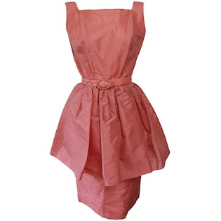 Pink Mini Dress with Large Peplum and Belt