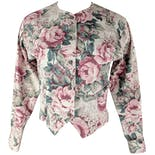 90's Pink Floral Fitted Jacket with Vest Structure by Banana Republic