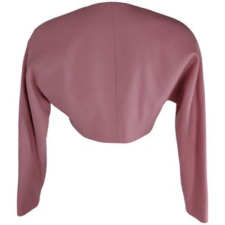 Pink Wool Cropped Blazer with Black Buttons by David Hayes