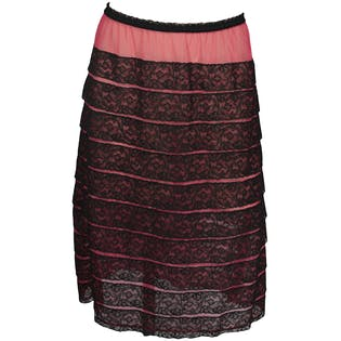 Pink and Black Lace Slip Skirt