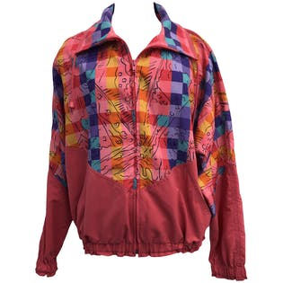 Pink and Multicolor Abstract Printed Windbreaker
