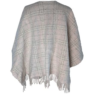 Pink and Off White Plaid Fringe Shawl by Burberry