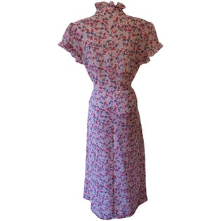 Pink and Purple Floral Printed Sheer Dress