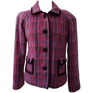 Pink and Purple Plaid Tweed Jacket