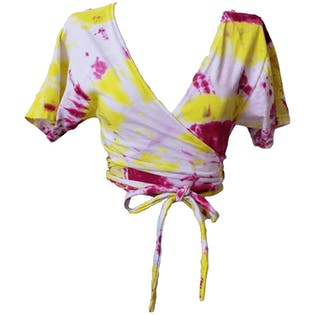 Pink and Yellow Tie Dye Top by Hanes