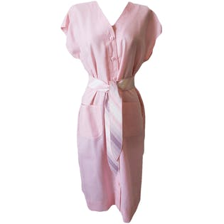 Pink Button Up Dress with Plaid Belt by Leslie Fay