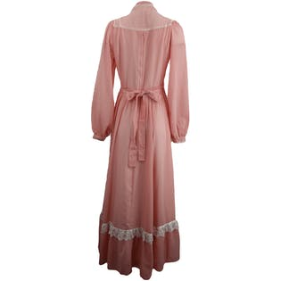 Pink Long Sleeved Maxi with Lace Overlayby Gunne Sax