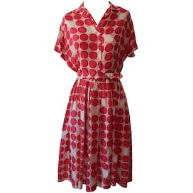 Pink Polka Dot Shirtdress with Matching Belt by Langley Hall
