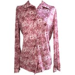 70's Pink, Red, and White Long Sleeve Floral Button Down by Graff