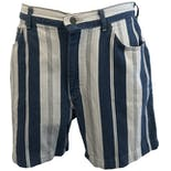 Blue and White Denim Striped Shorts by Lee
