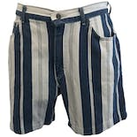 Blue and White Denim Striped Shorts