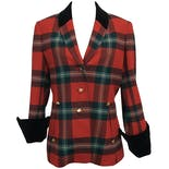 Red Plaid and Velvet Trimmed Blazer by Hermès