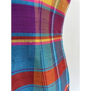 90's Raw Silk Multicolor Plaid Shift Dress by Anne Klein