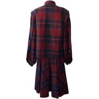 Plaid Coat and Pleated Skirt Set by Salvatore Ferragamo