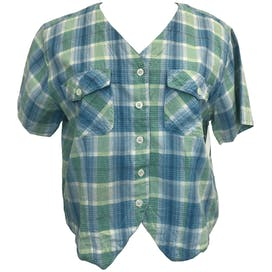 Blue and Green Plaid V-Neck Short Sleeve Button Up by Erika & Co.