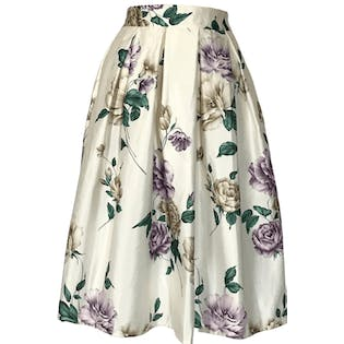 80's/90's Off White Floral Print Pleated Skirt
