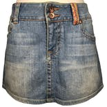 another view of Pocket Detail Denim Mini Skirt by Coogi