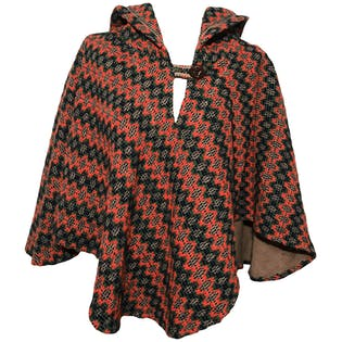 70's Beige, Blue, Green, and Orange Textured Buttoned Hooded Poncho