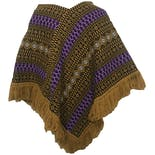 another view of 70's Beige, Black, and Purple Woven Geometric Poncho with Fringe Hem