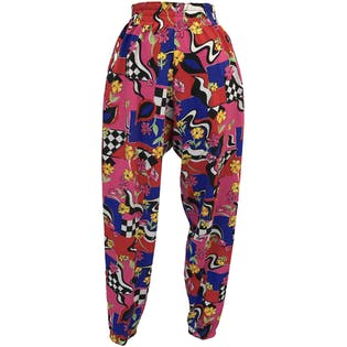 Abstract, Checkered and Floral Print Multicolor Jogger Pants