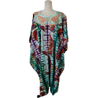 Aqua Multicolor Abstract Print Caftan