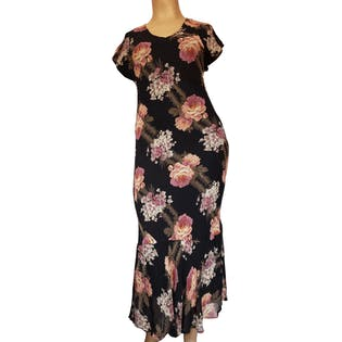 90's Black Floral Bodycon Maxi Dress by Paradise