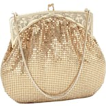 50's Goldtone Micro Mesh Evening Bag by Whiting & Davis